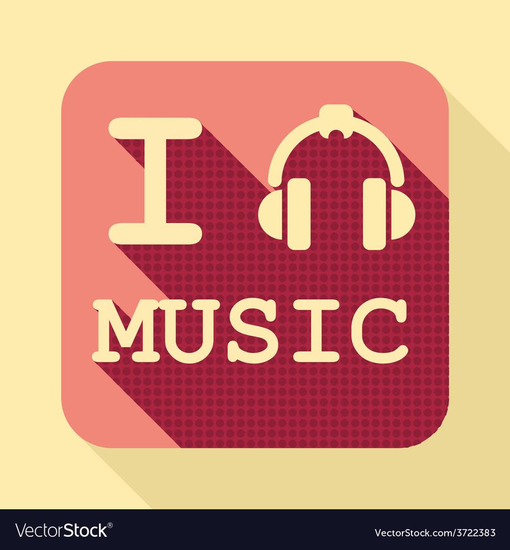 I love music flat retro vintage icon vector | Price: 1 Credit (USD $1)