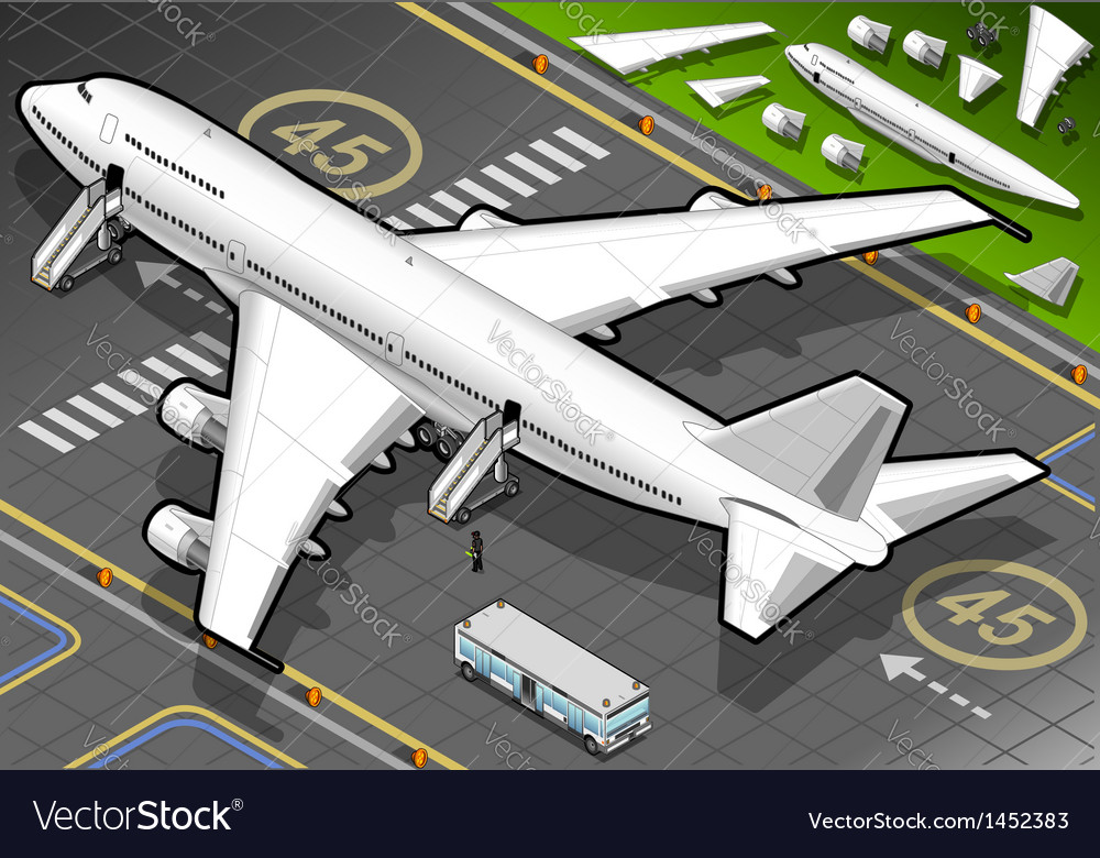Isometric white airplane landed in rear view vector | Price: 1 Credit (USD $1)