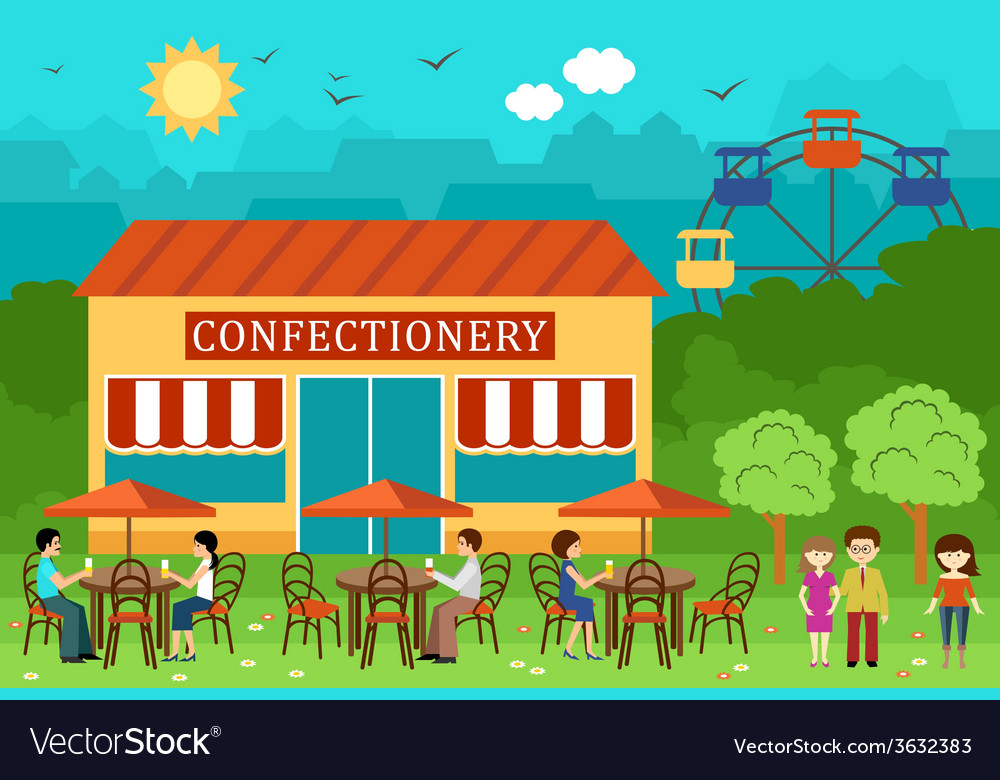 Park cafe and people vector | Price: 1 Credit (USD $1)