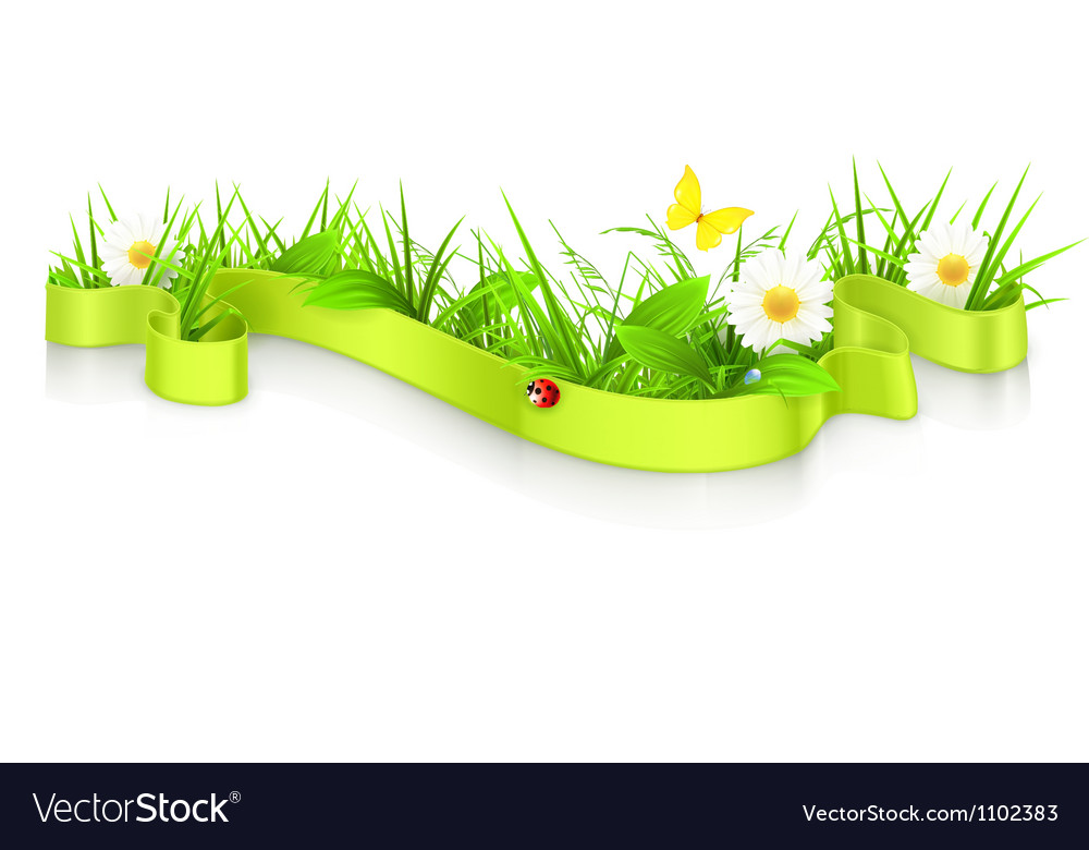 Ribbon in the grass vector | Price: 1 Credit (USD $1)