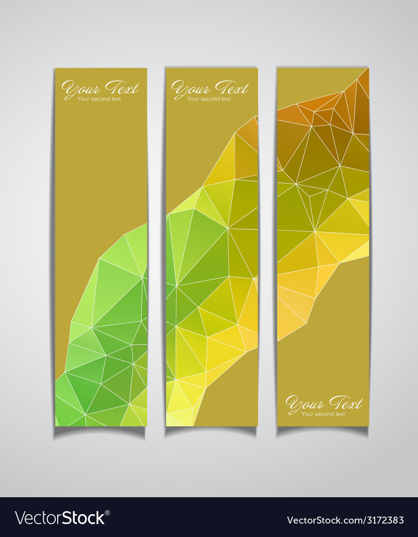 Set of three yellow geometric banners vector | Price: 1 Credit (USD $1)