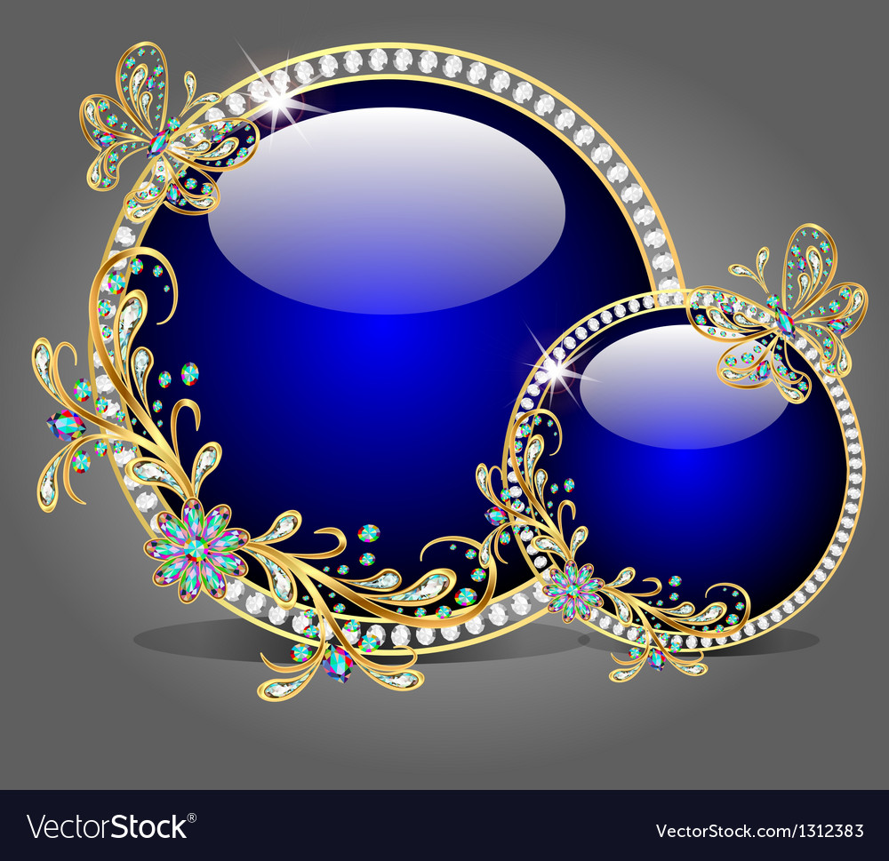Two glass bowl with butterflies made of precious s vector | Price: 1 Credit (USD $1)