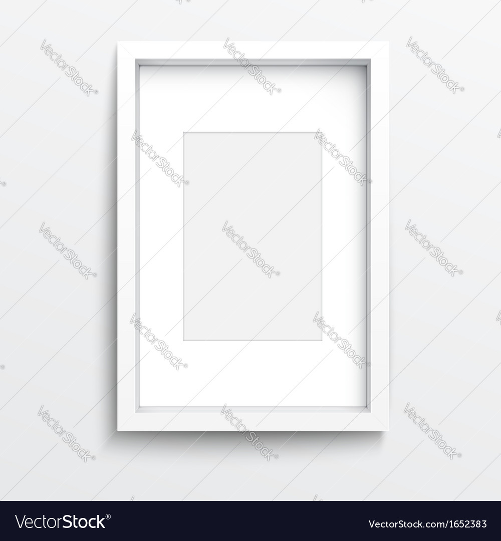 White vertical frame on gray wall vector | Price: 1 Credit (USD $1)