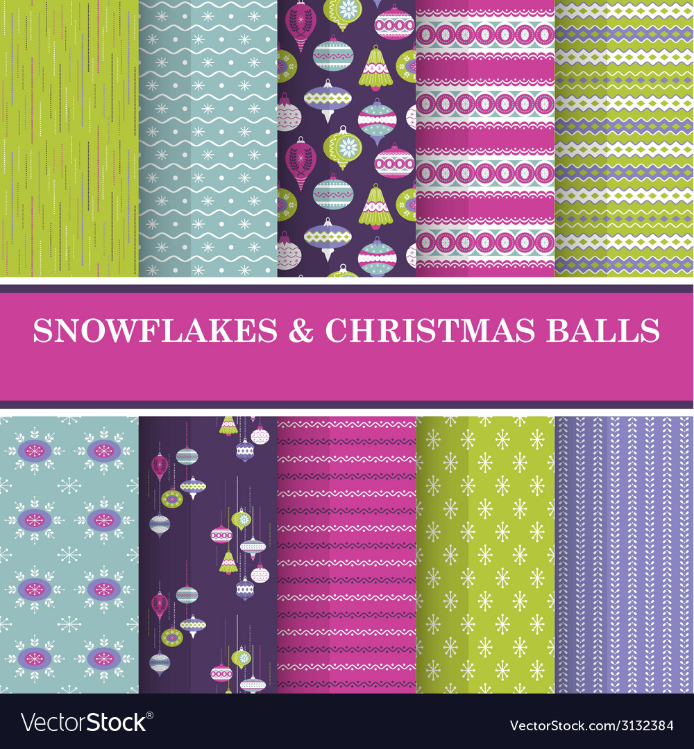 10 seamless patterns - snowflakes and xmas balls vector | Price: 1 Credit (USD $1)