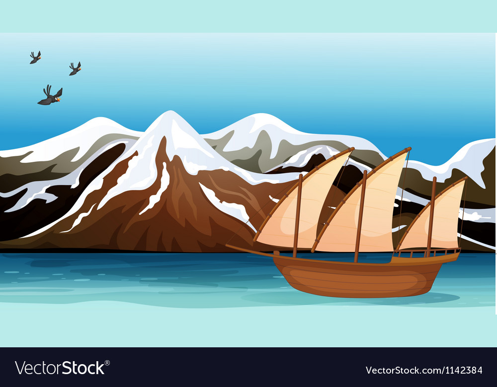 A boat floating near the mountain area vector | Price: 1 Credit (USD $1)