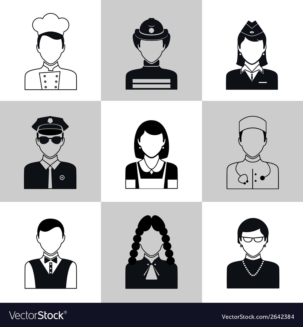Avatar icons black set vector | Price: 1 Credit (USD $1)