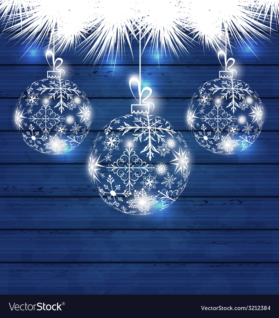 Christmas balls made in snowflakes on blue wooden vector | Price: 1 Credit (USD $1)