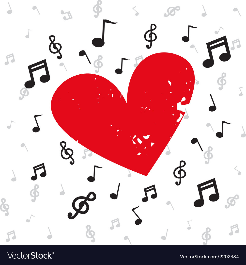 Decoration of musical notes with red heart grunge vector | Price: 1 Credit (USD $1)