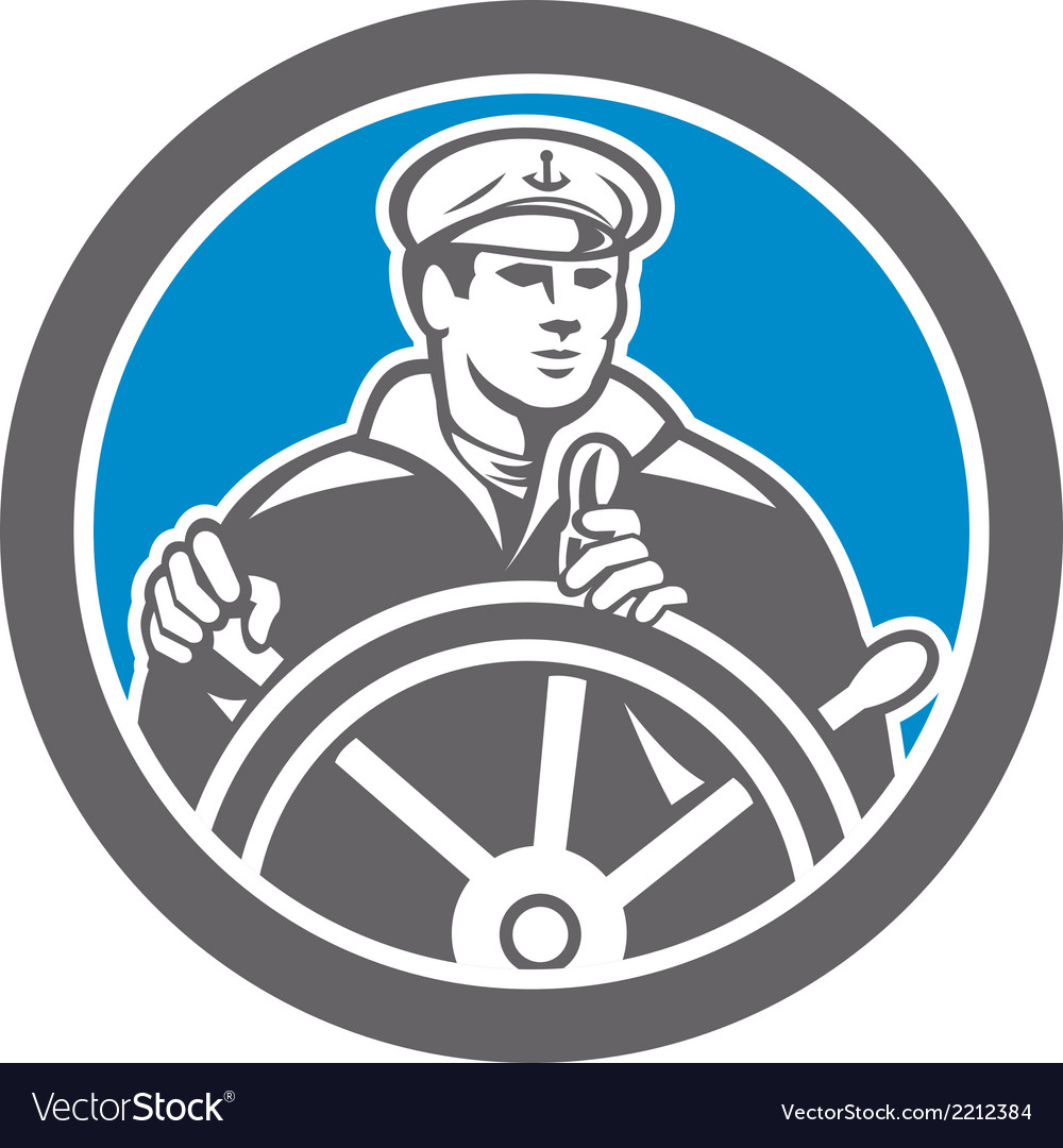 Fisherman sea captain circle retro vector | Price: 1 Credit (USD $1)