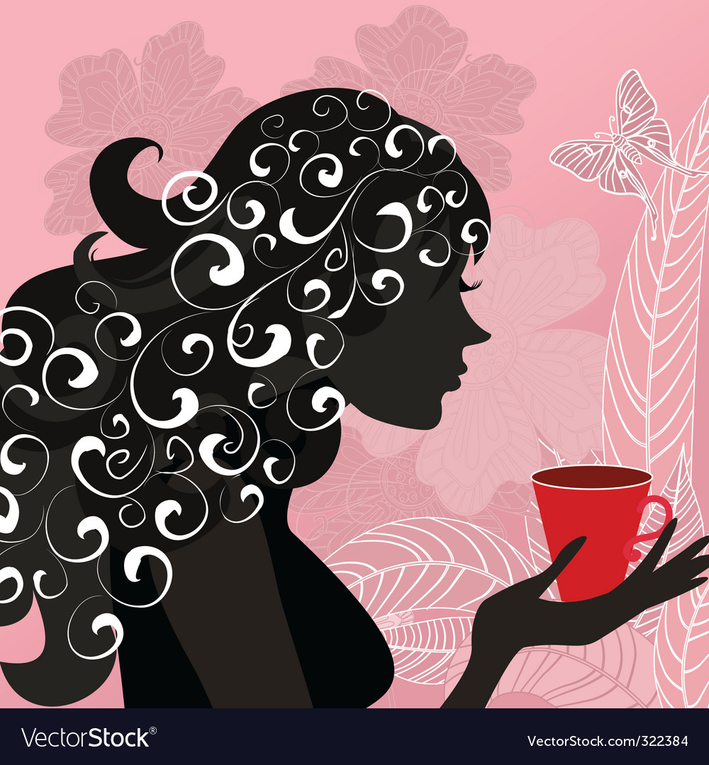 Girl with the flower tea vector | Price: 1 Credit (USD $1)