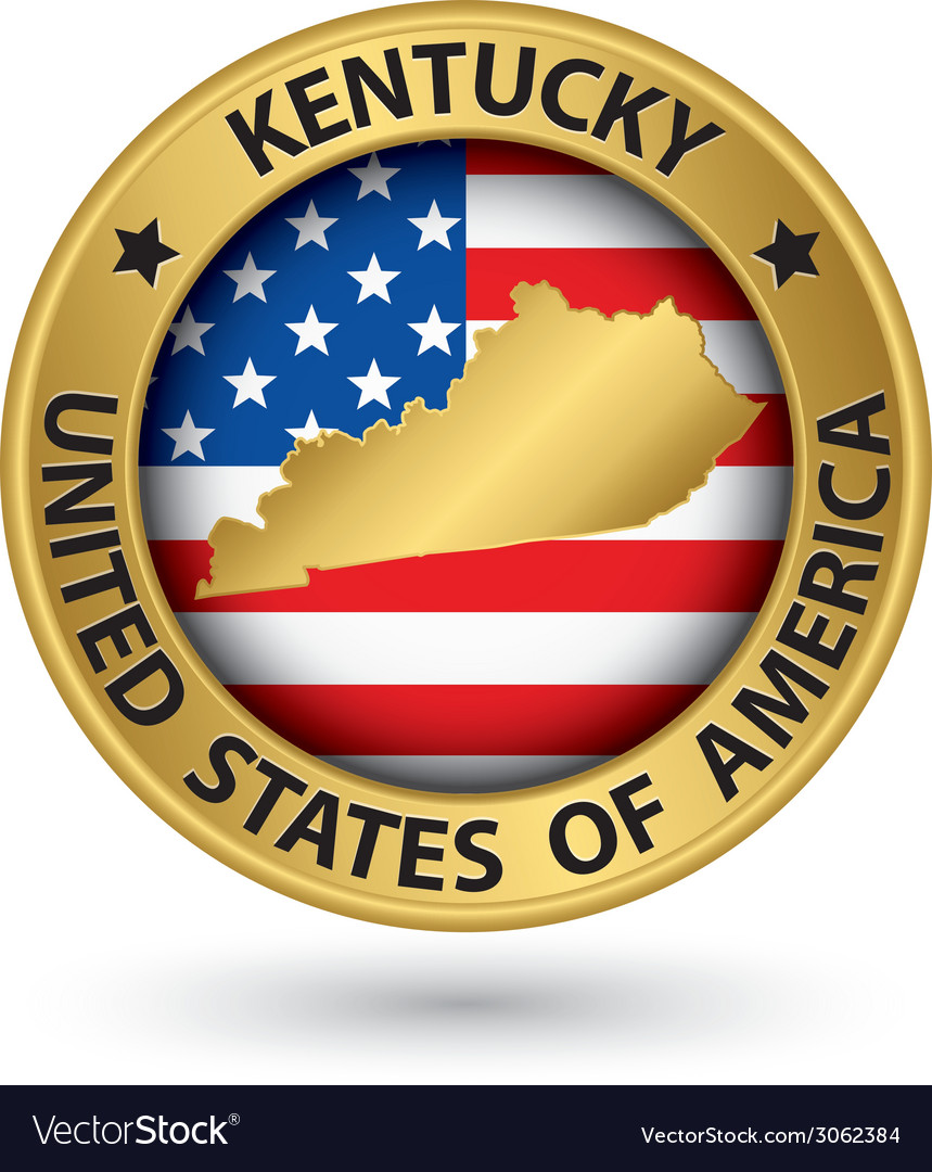 Kentucky state gold label with state map vector | Price: 1 Credit (USD $1)