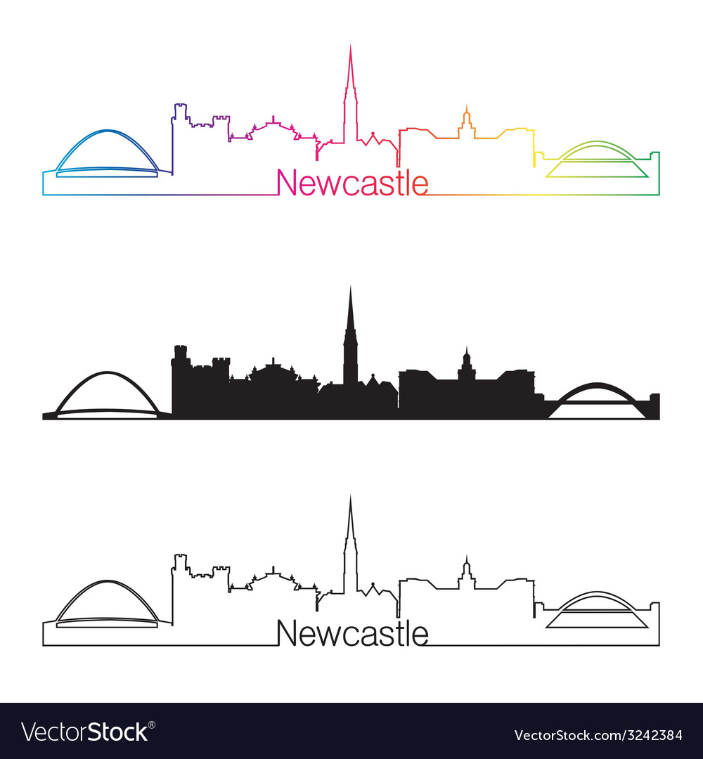Newcastle skyline linear style with rainbow vector | Price: 1 Credit (USD $1)