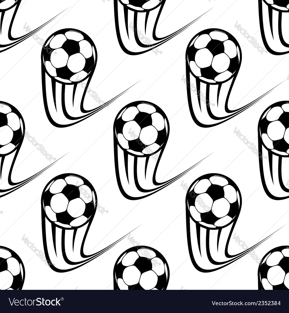 Seamless pattern of speeding soccer balls vector | Price: 1 Credit (USD $1)