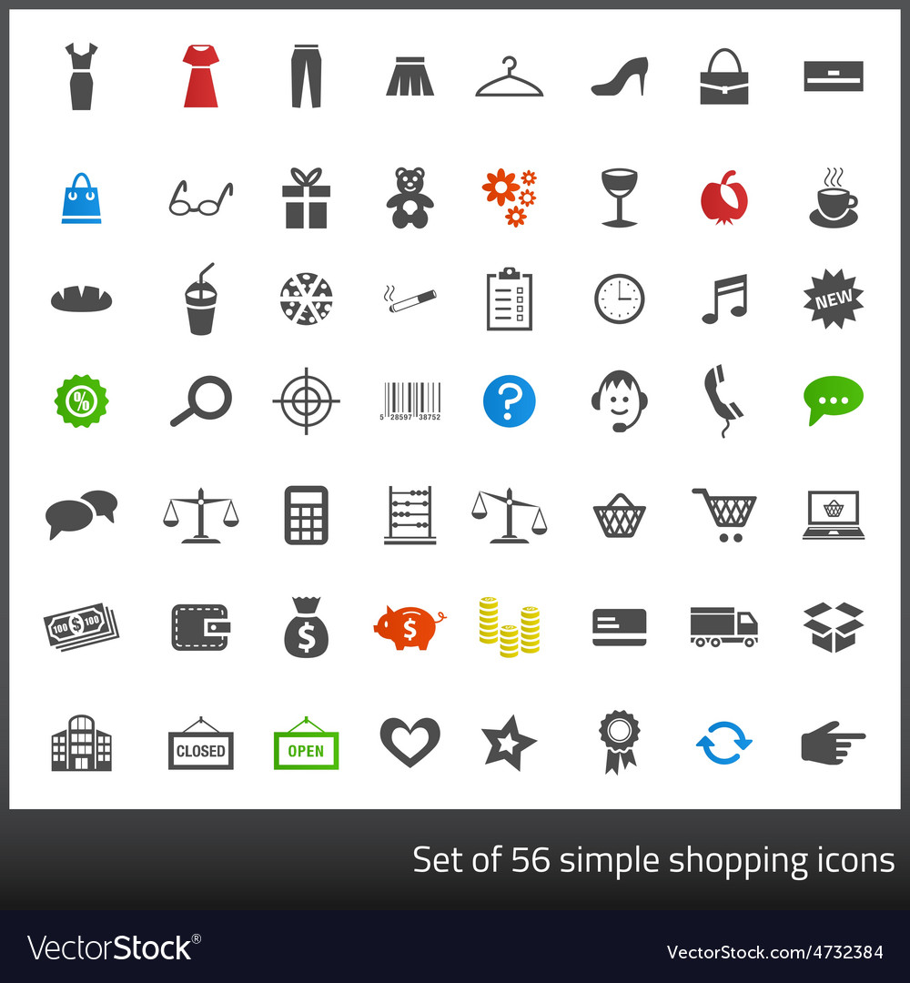 Set of 56 dark grey icons related to shopping with vector