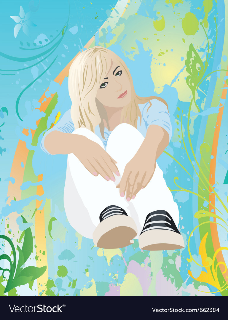 Sitting girl vector | Price: 3 Credit (USD $3)