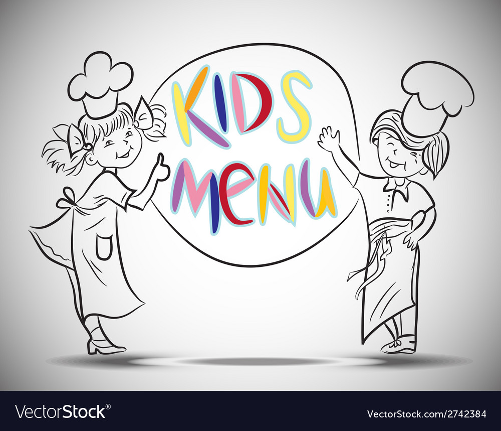 Sketch boy and girls kids menu vector | Price: 1 Credit (USD $1)