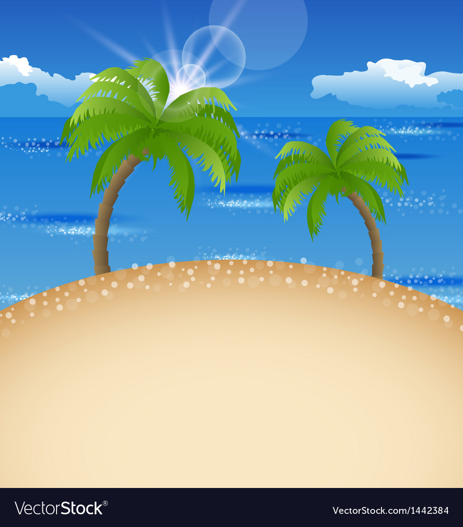 Summer holiday background with beach palm sky vector | Price: 1 Credit (USD $1)