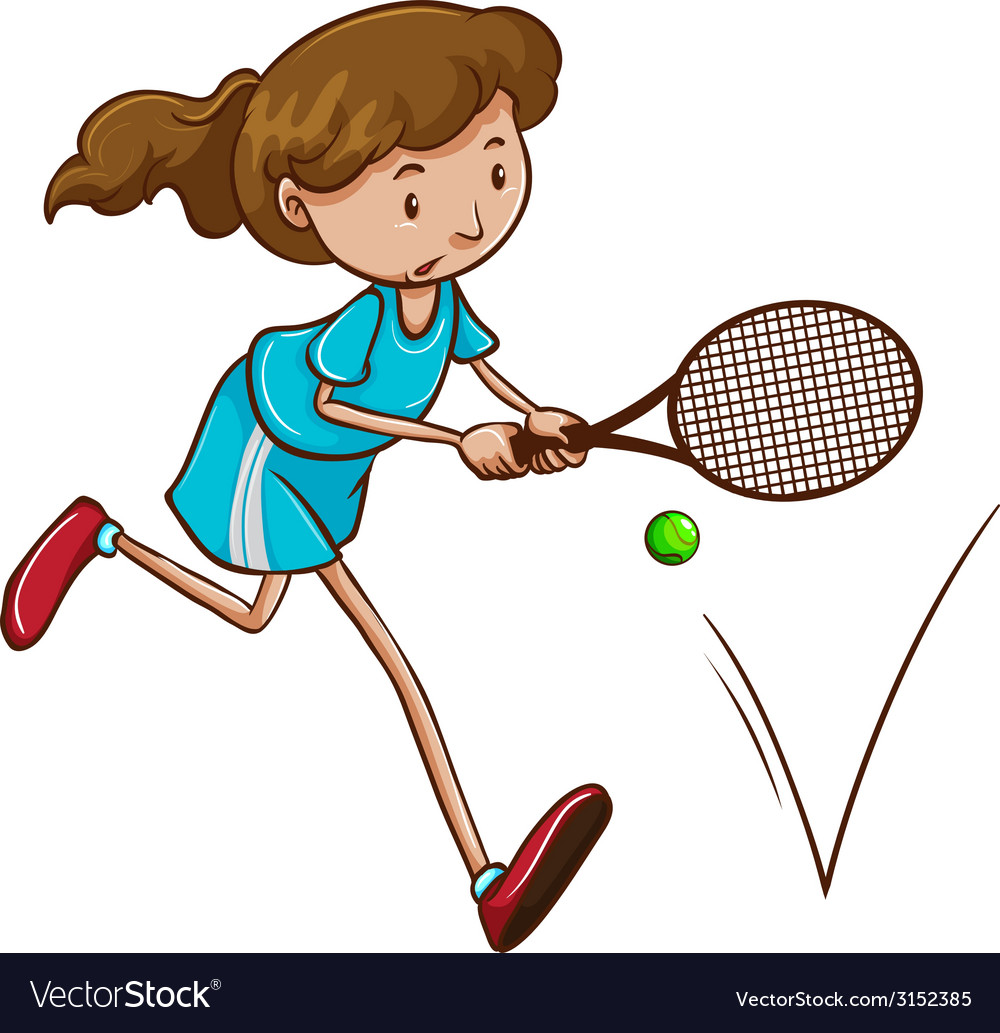 A girl playing tennis vector | Price: 1 Credit (USD $1)