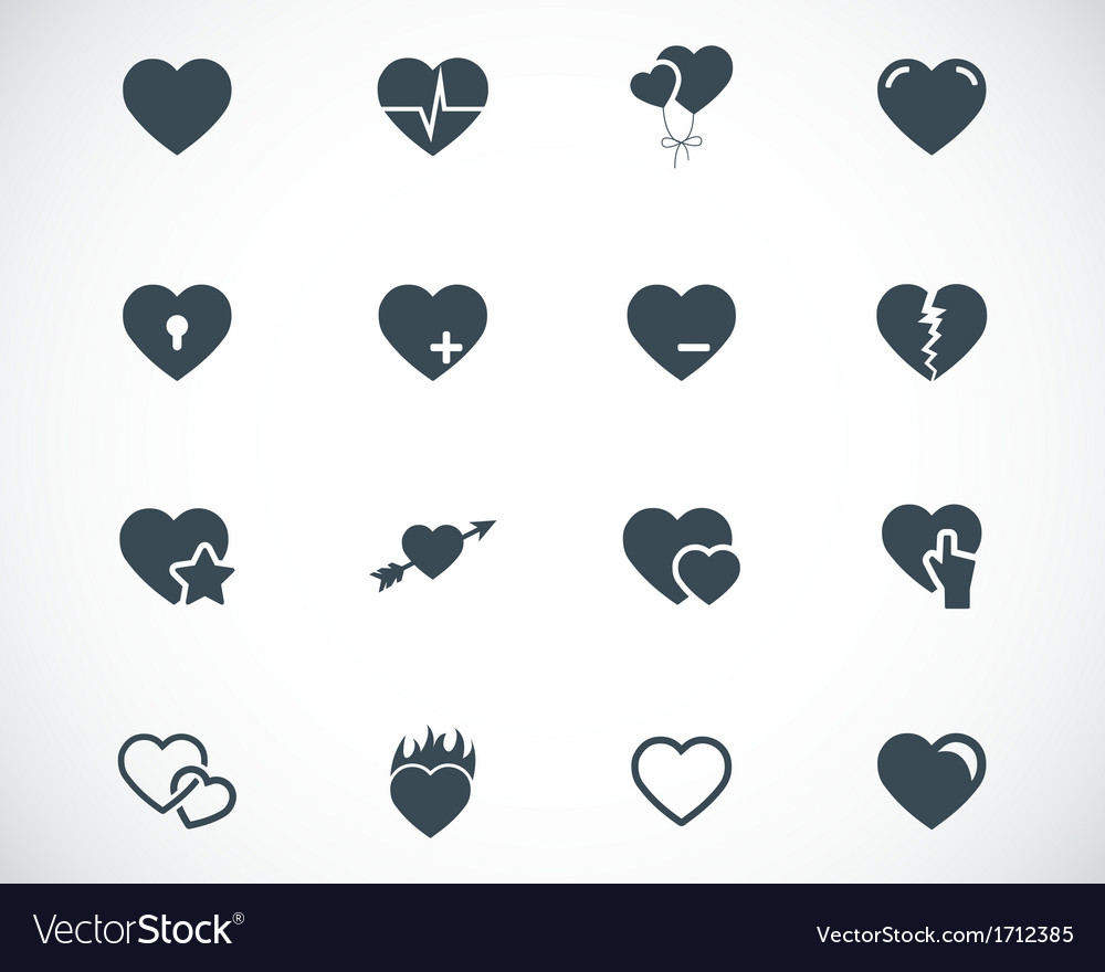 Black hearts icons set vector