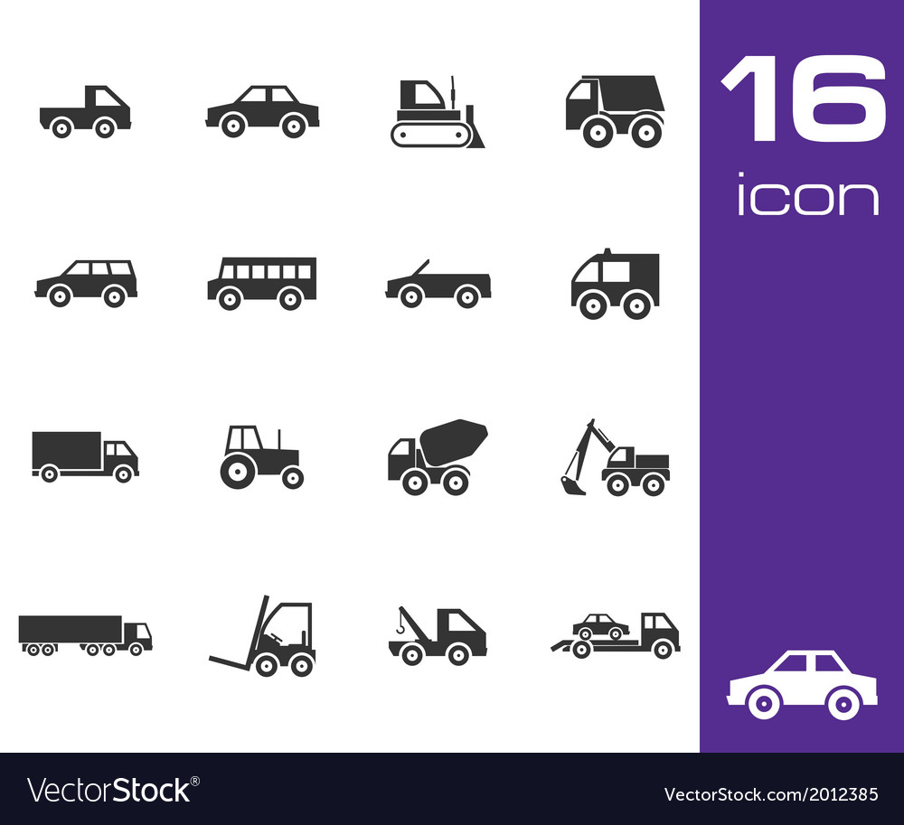 Black vehicle icon set vector | Price: 1 Credit (USD $1)
