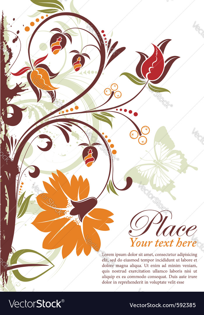 Grunge floral frame vector | Price: 1 Credit (USD $1)