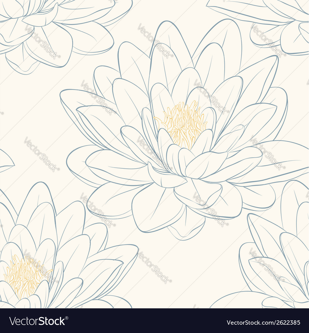 Seamless pattern with lotus flowers vector | Price: 1 Credit (USD $1)