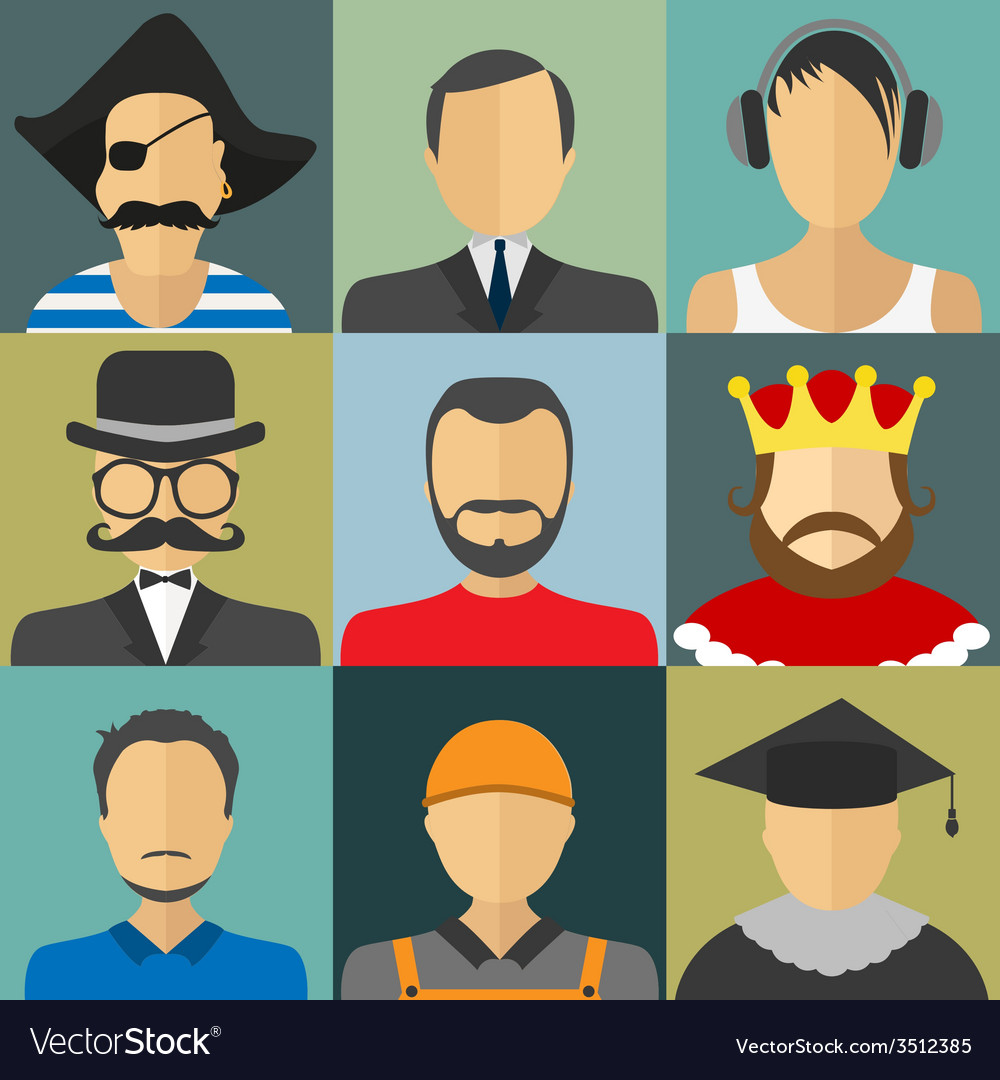 Set of flat style male characters vector | Price: 1 Credit (USD $1)