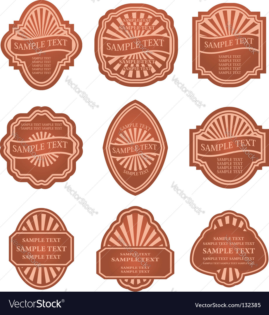Set of old brown labels vector | Price: 1 Credit (USD $1)