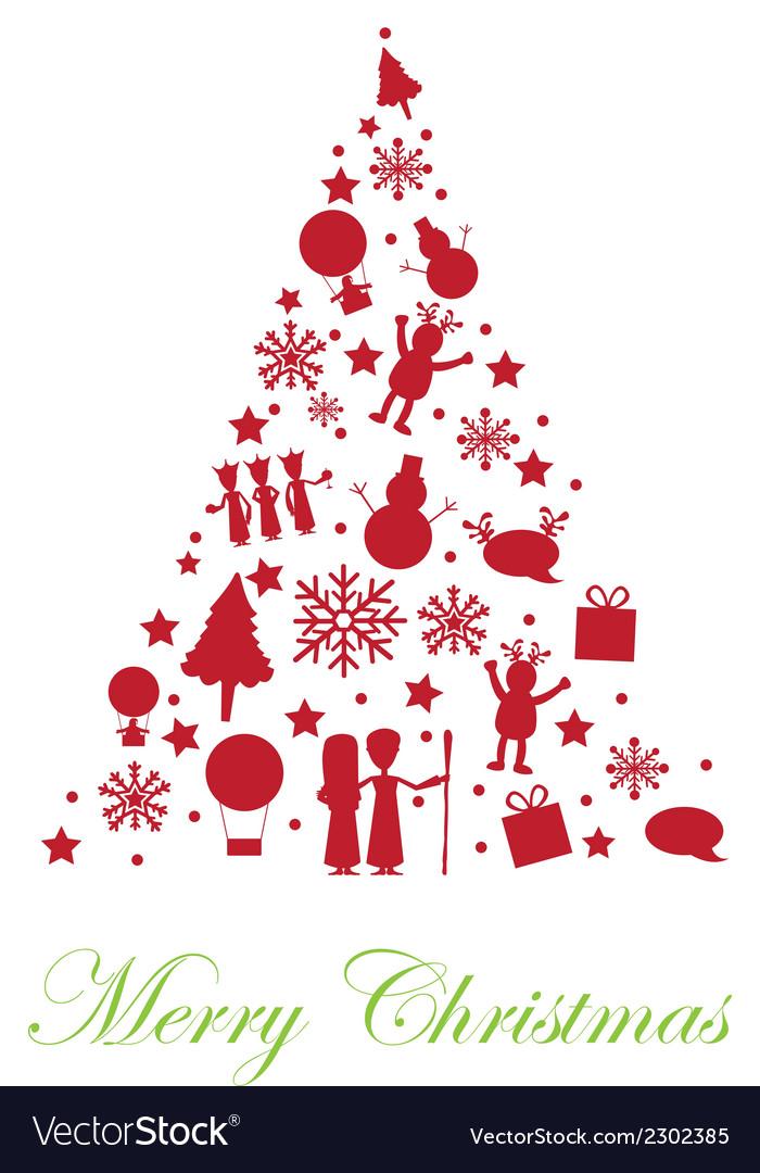 Silhouette tree christmas isolated over white back vector | Price: 1 Credit (USD $1)