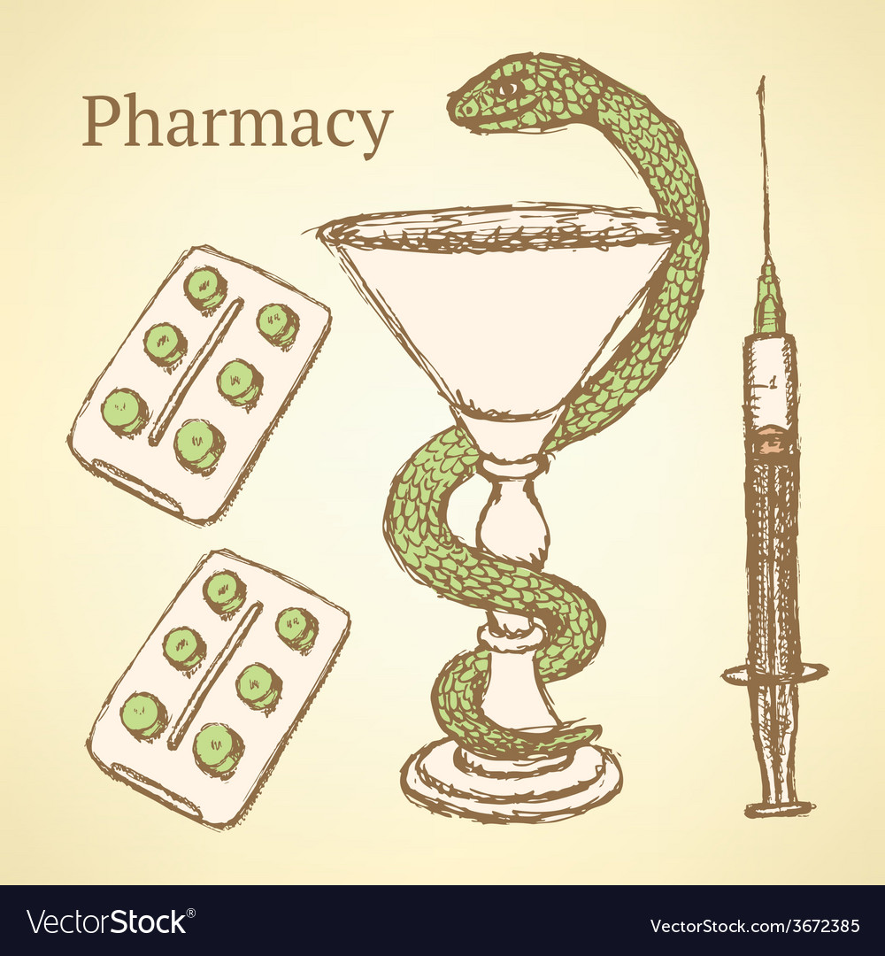 Sketch pharmacy set in vintage style vector | Price: 1 Credit (USD $1)