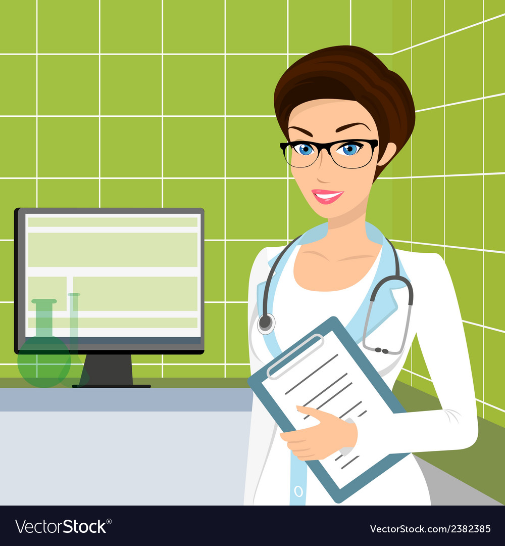 Smiling doctor wearing glasses in the consulting vector | Price: 1 Credit (USD $1)