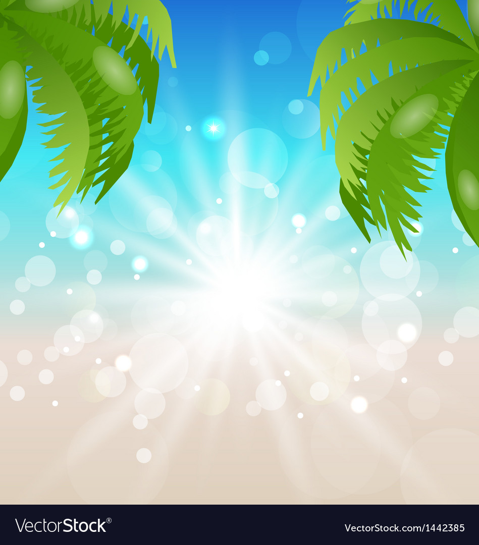 Summer holiday background sunlight and palmtree vector | Price: 1 Credit (USD $1)