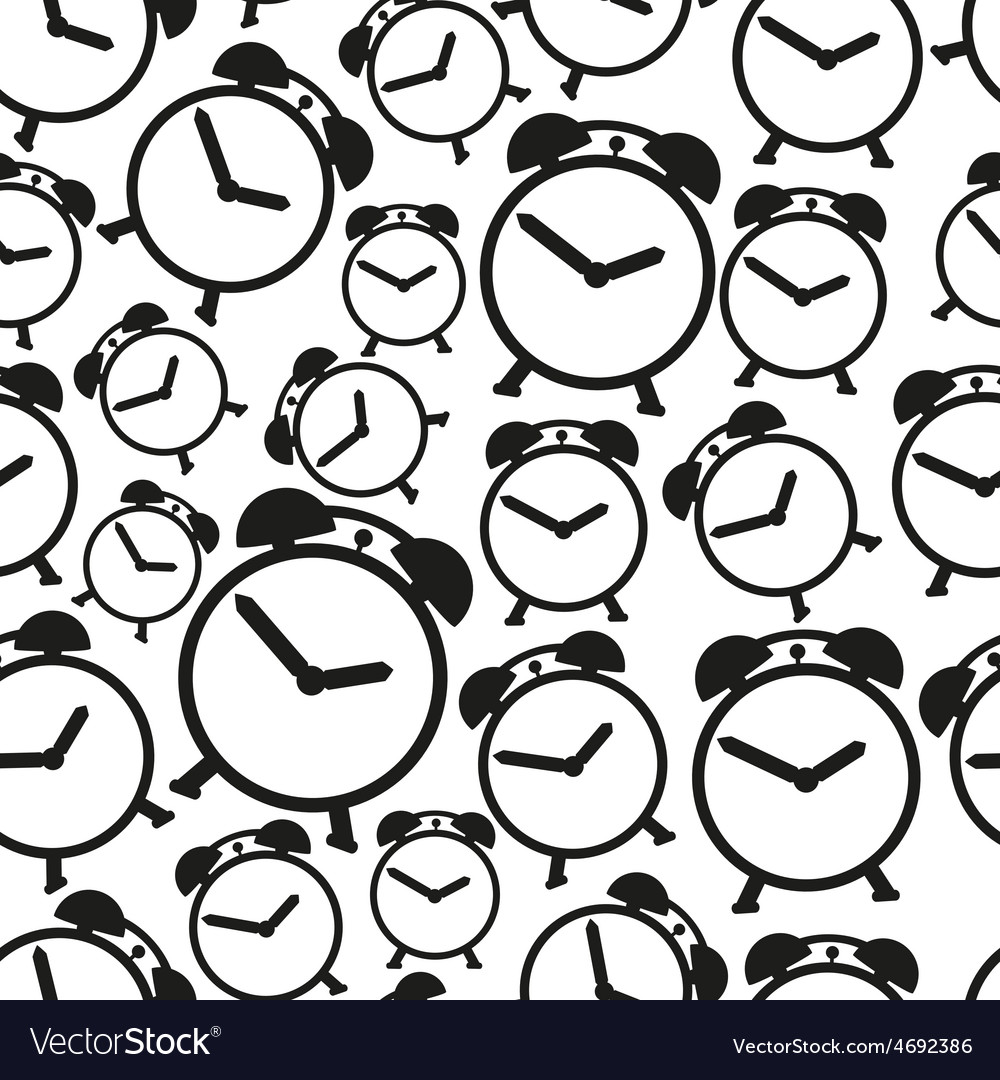 Alarm clock black and white icons seamless pattern vector | Price: 1 Credit (USD $1)