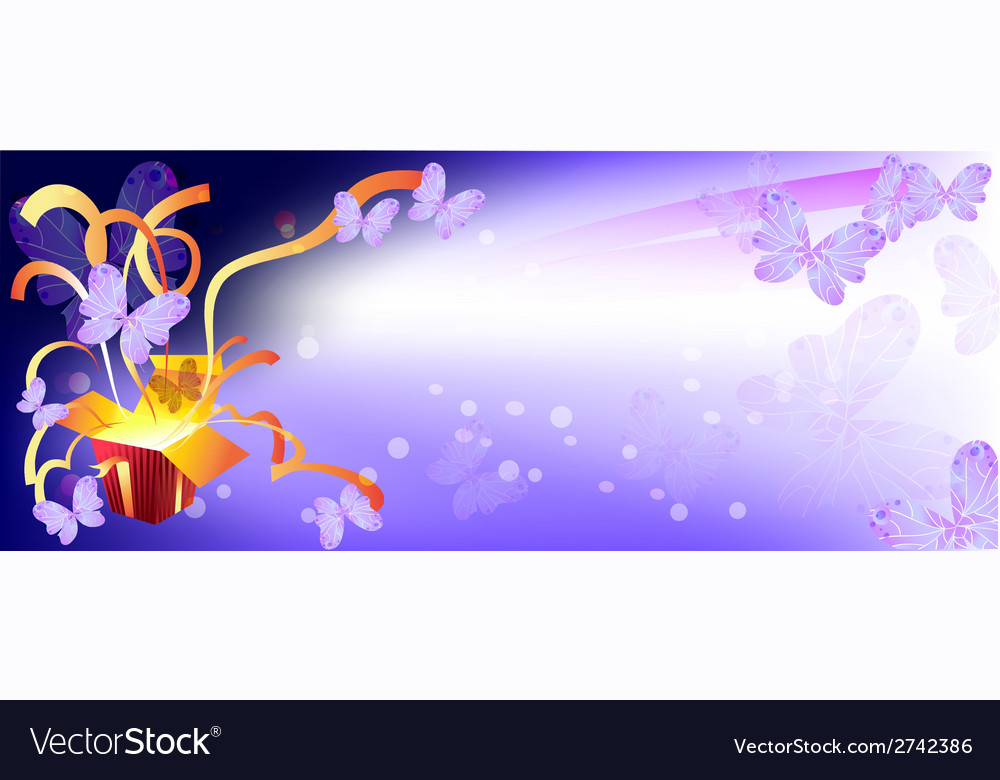 Background for banner box surprise butterfly vector | Price: 1 Credit (USD $1)