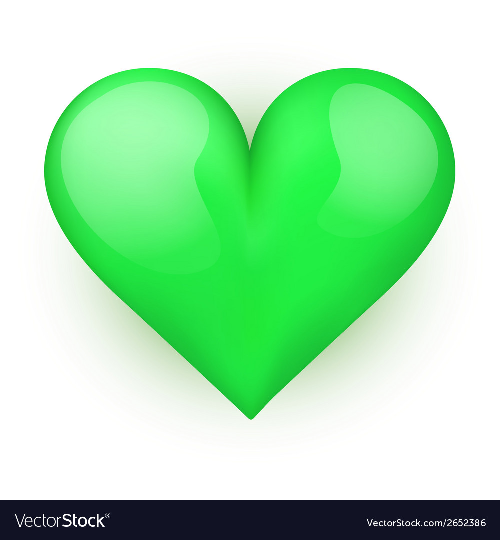 Beautiful realistic green heart vector | Price: 1 Credit (USD $1)