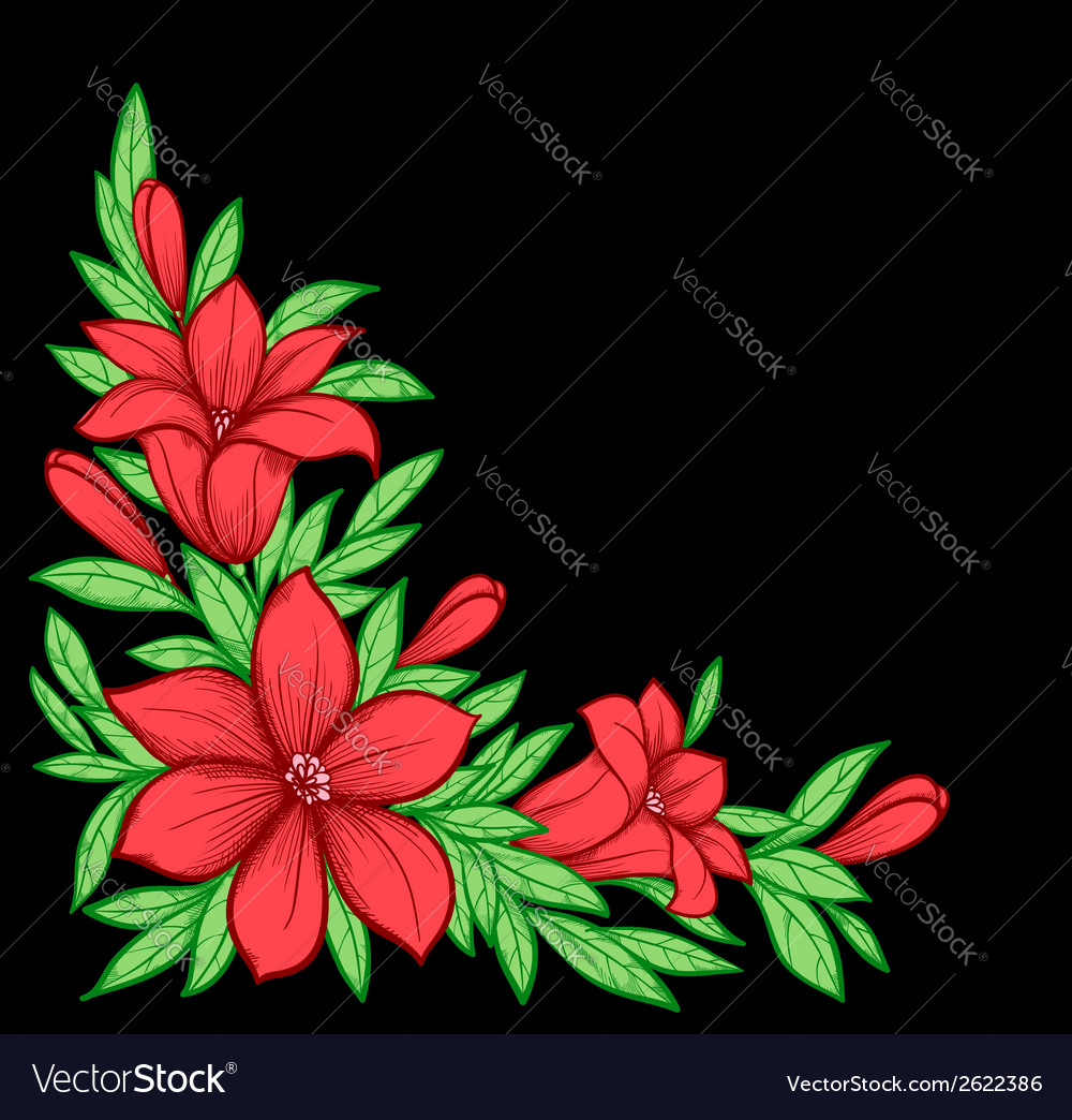 Branch with flowers vector | Price: 1 Credit (USD $1)