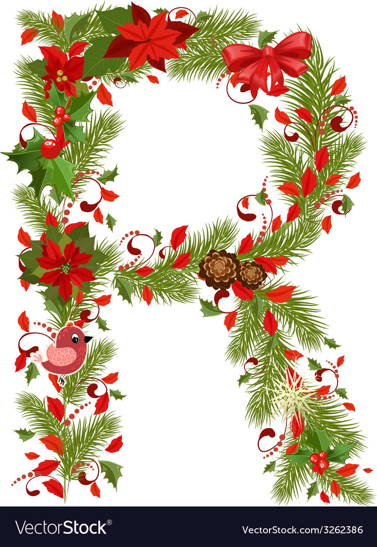 Christmas floral tree letter r vector | Price: 1 Credit (USD $1)