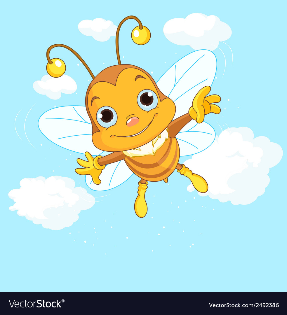 Cute bee flying in the sky vector | Price: 1 Credit (USD $1)