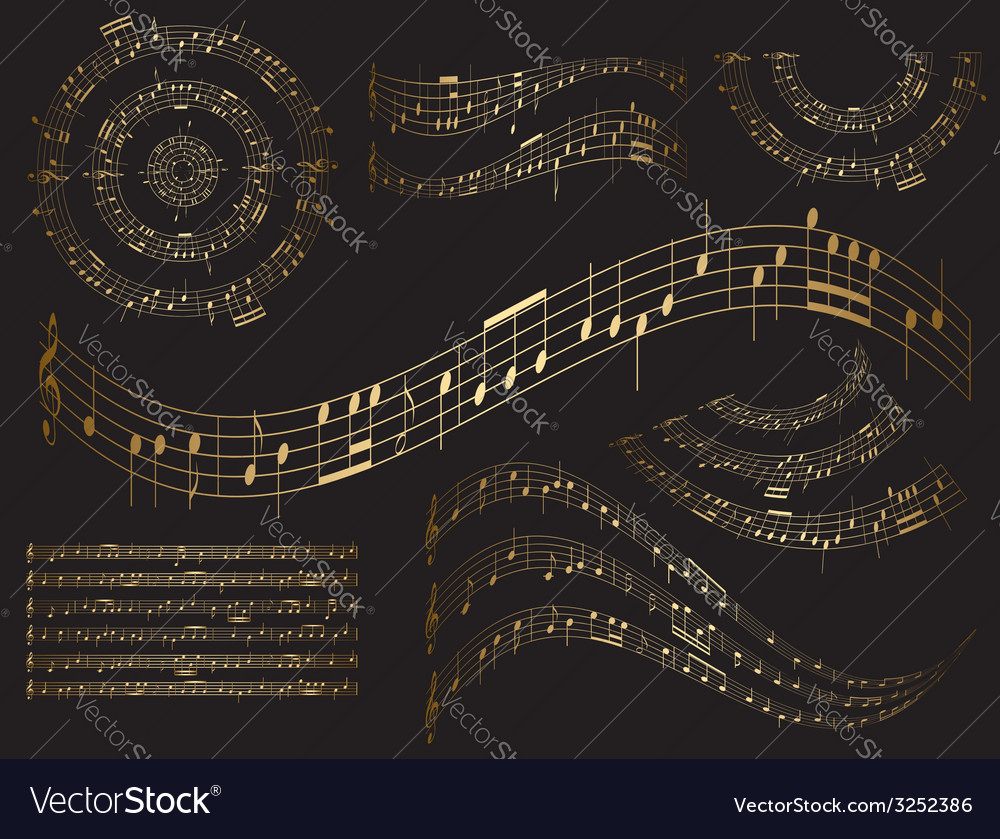 Gold musical design elements - set vector | Price: 1 Credit (USD $1)