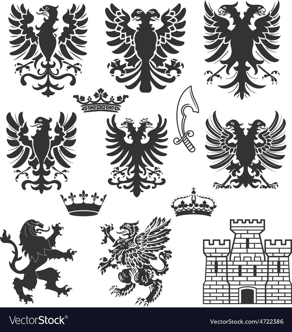 Heraldry design elements vector | Price: 1 Credit (USD $1)