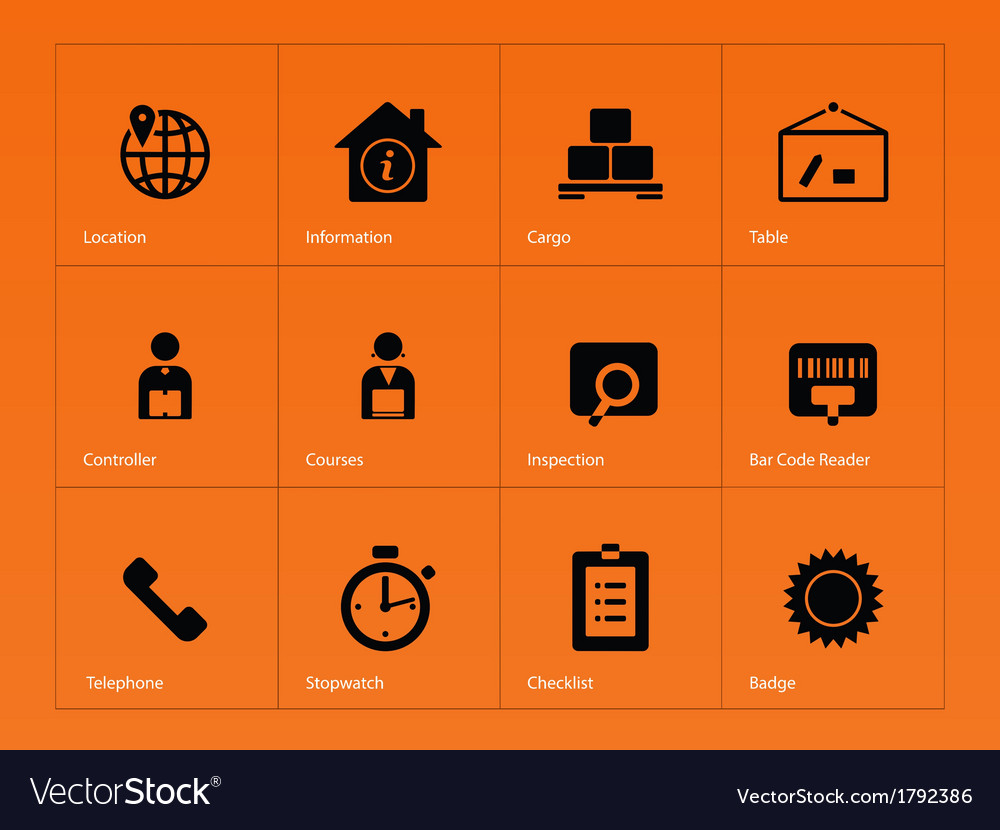 Logistics icons on orange background vector | Price: 1 Credit (USD $1)