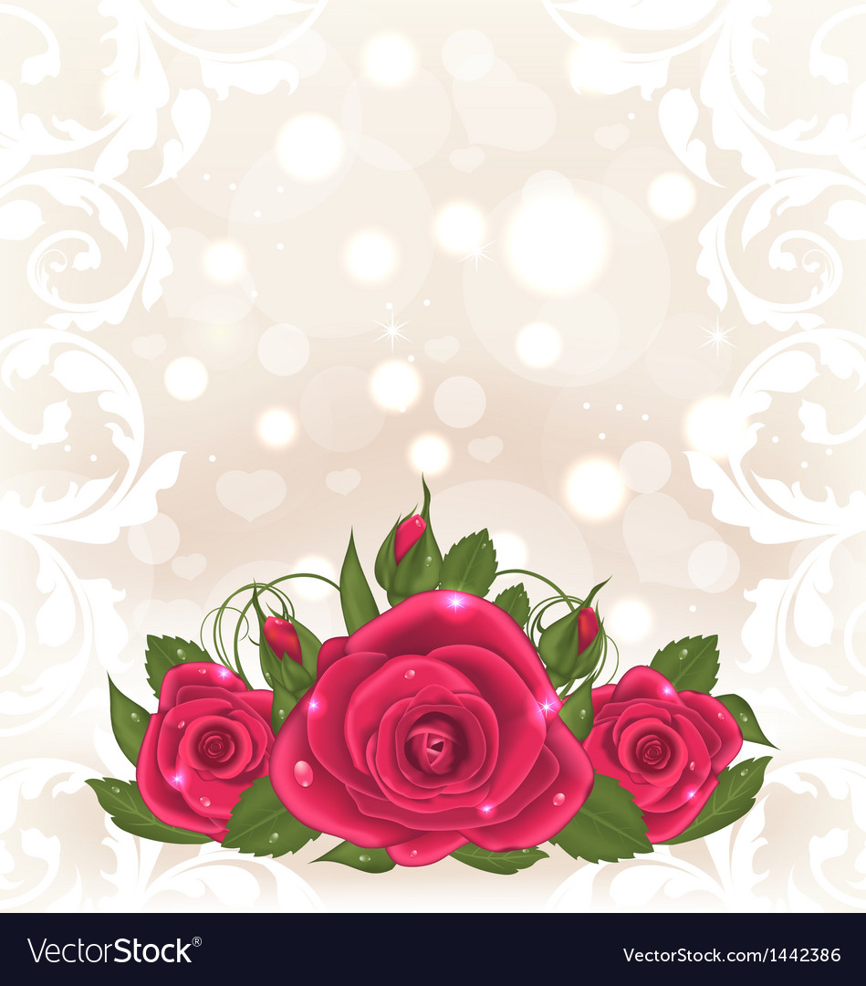 Luxury card with bouquet of pink roses vector | Price: 1 Credit (USD $1)