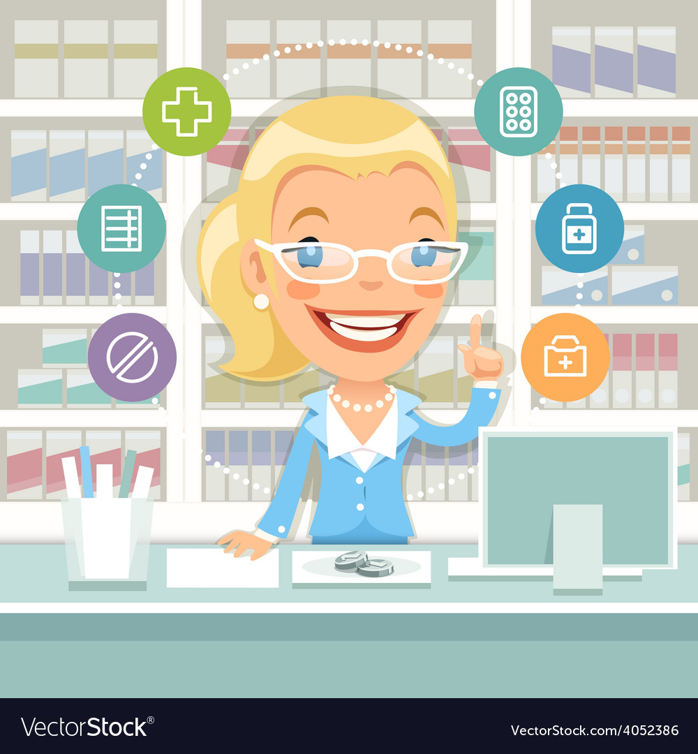 Pharmacist woman behind the counter vector | Price: 1 Credit (USD $1)