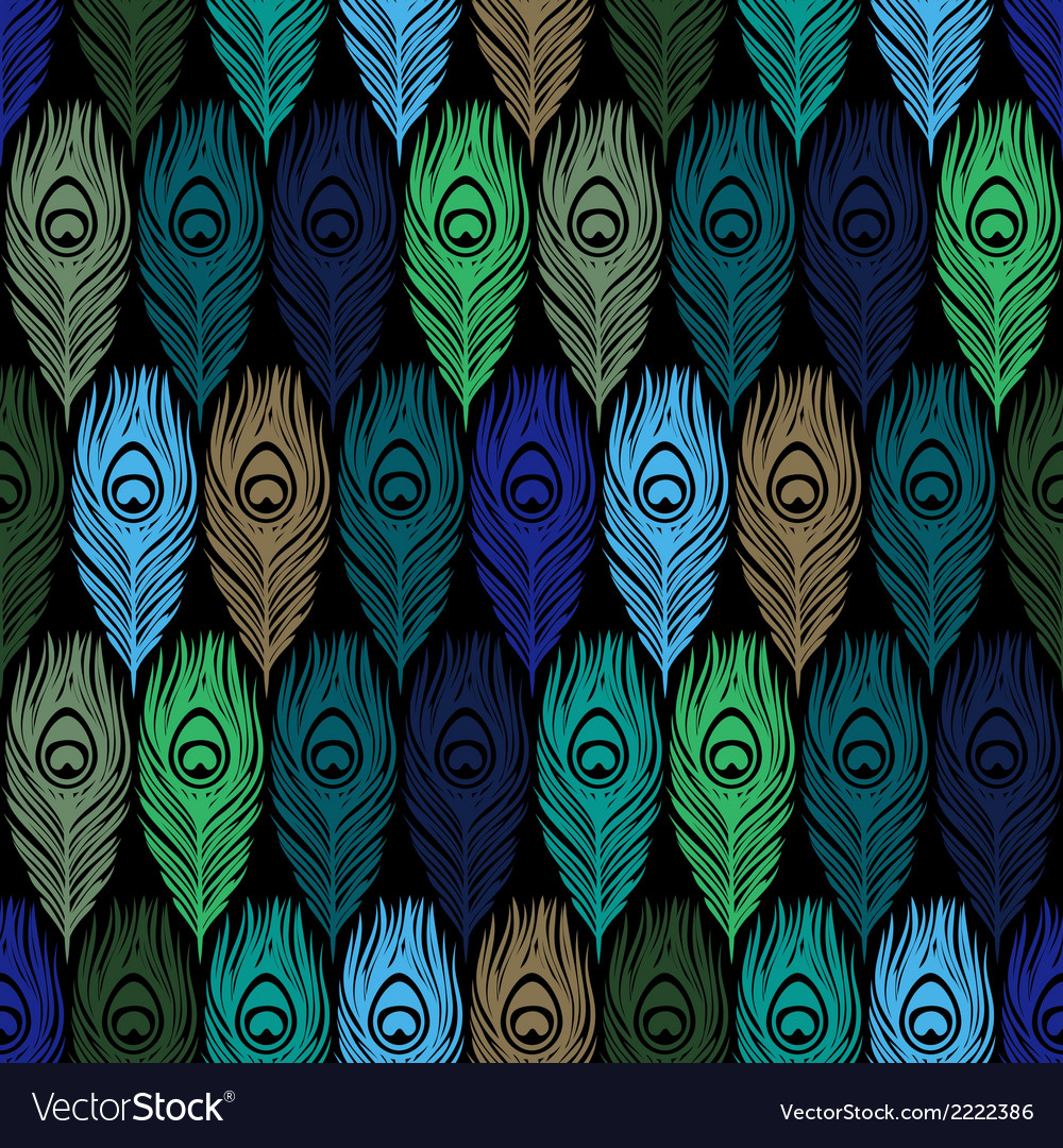 Seamless pattern with hand drawn feathers peacock vector | Price: 1 Credit (USD $1)