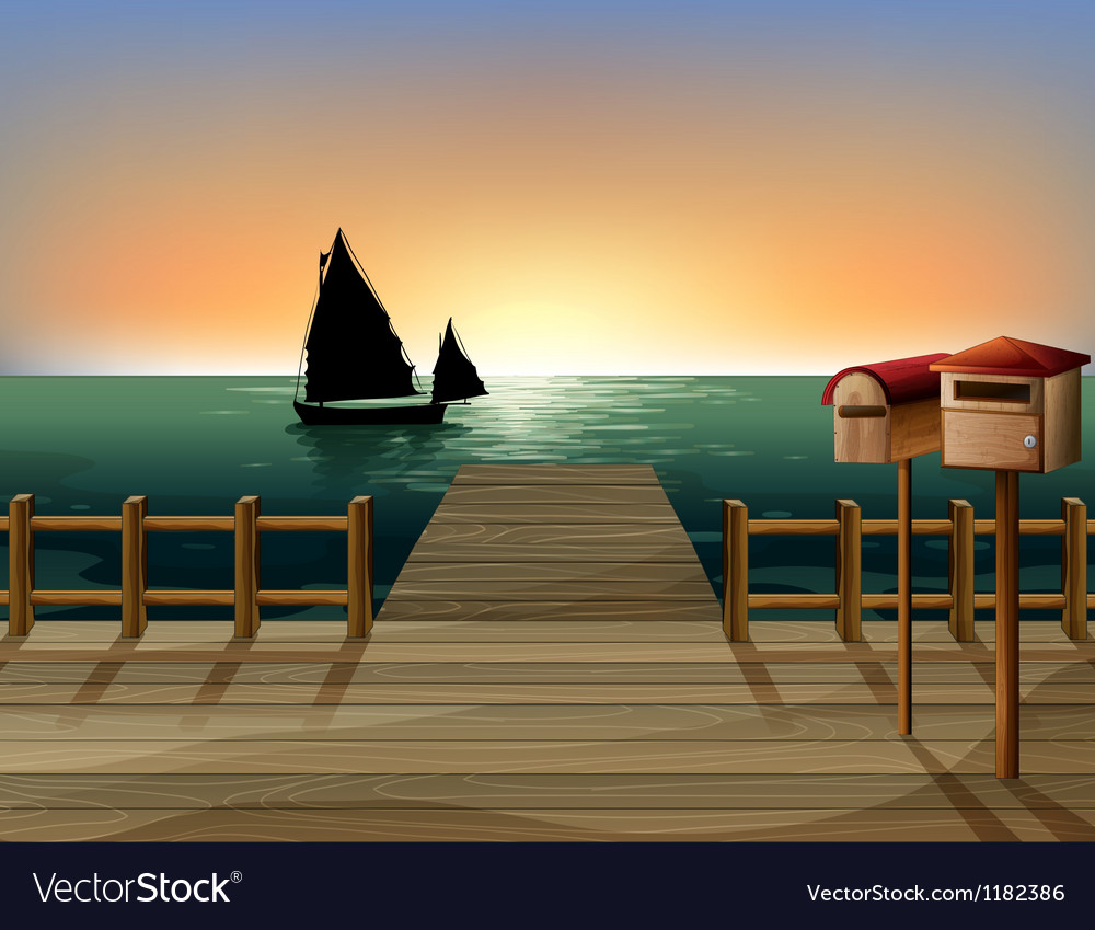 Seaside dock view vector | Price: 1 Credit (USD $1)