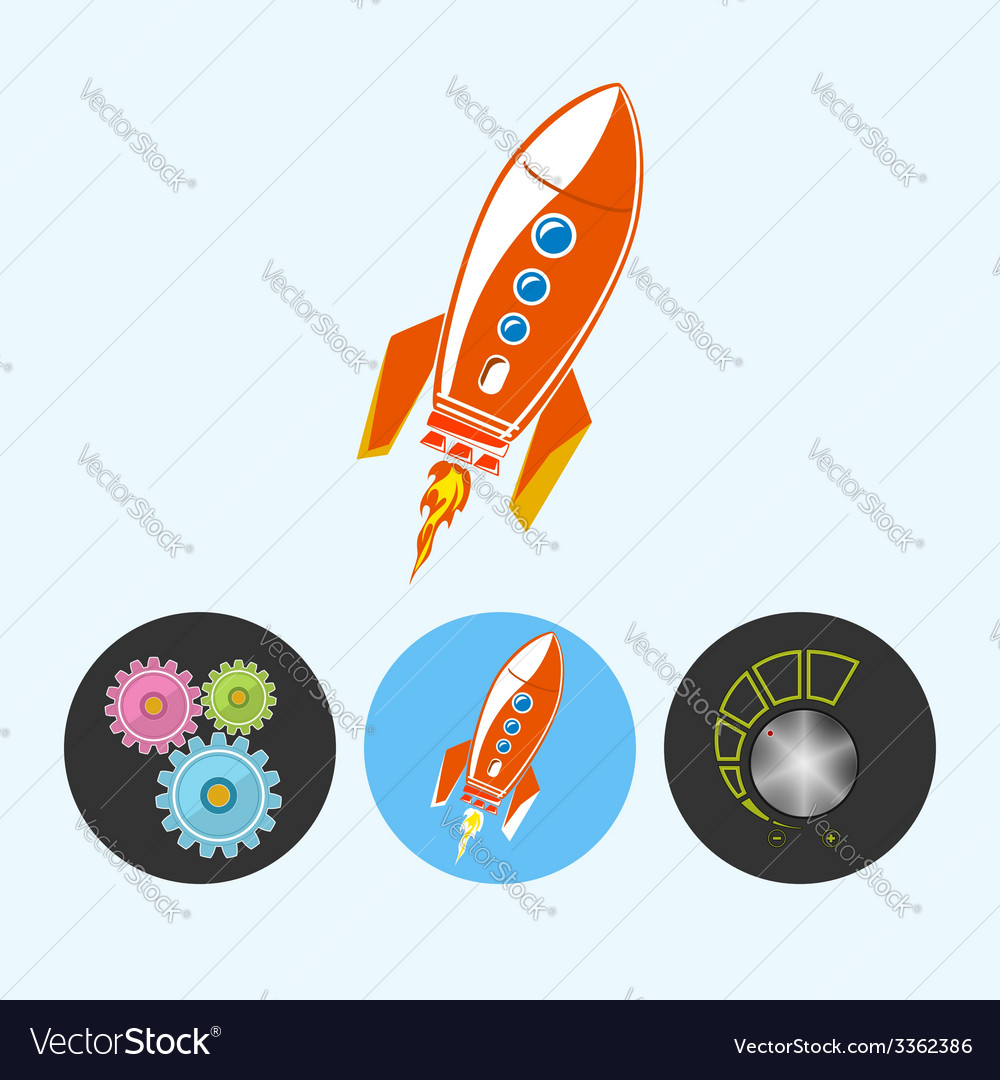 Set icons with gears rocket  volume control vector | Price: 1 Credit (USD $1)