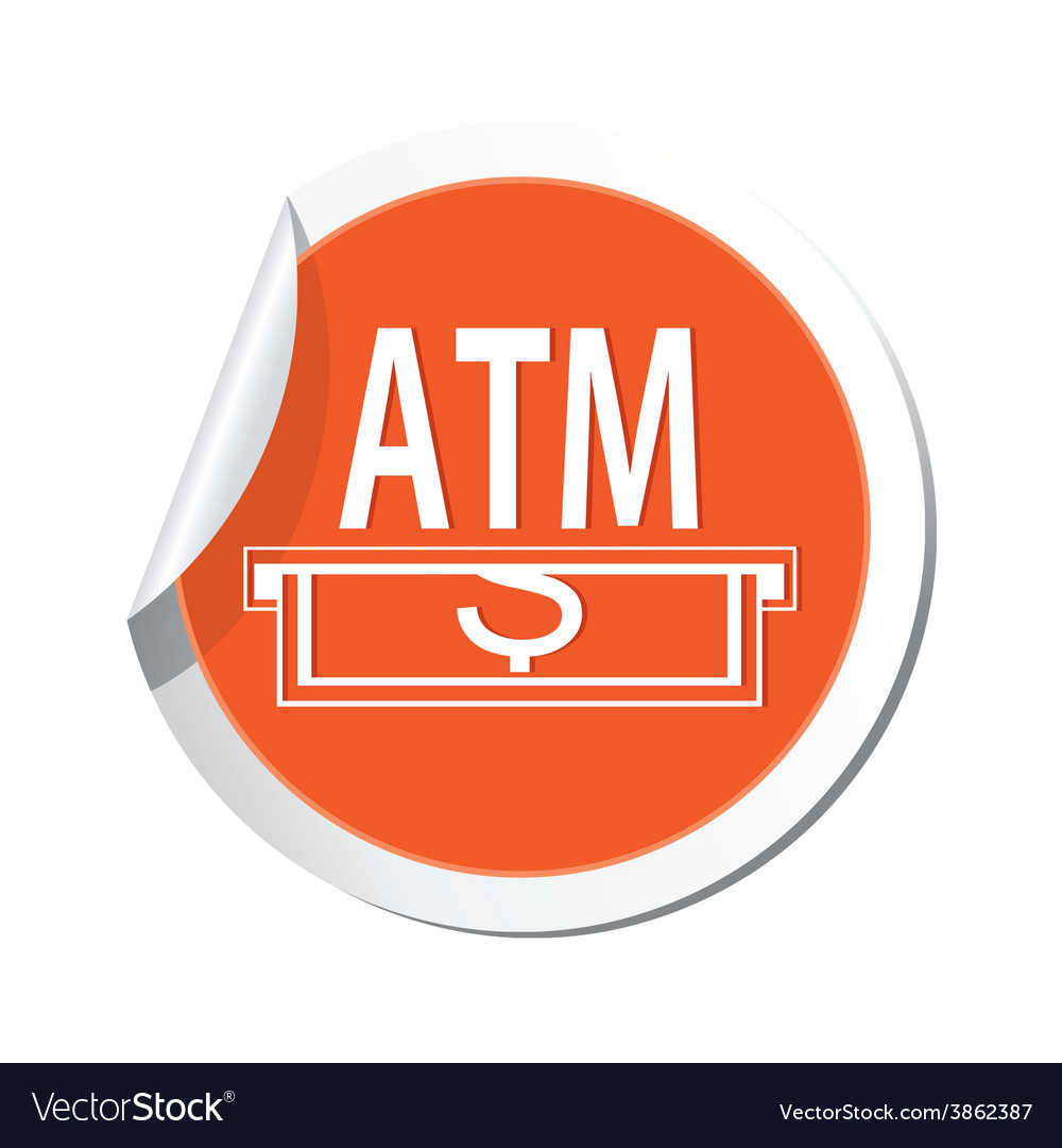 Atm orange label vector | Price: 1 Credit (USD $1)