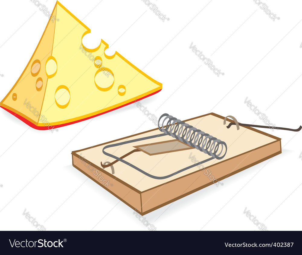 Cheese and mousetrap cartoon vector | Price: 1 Credit (USD $1)