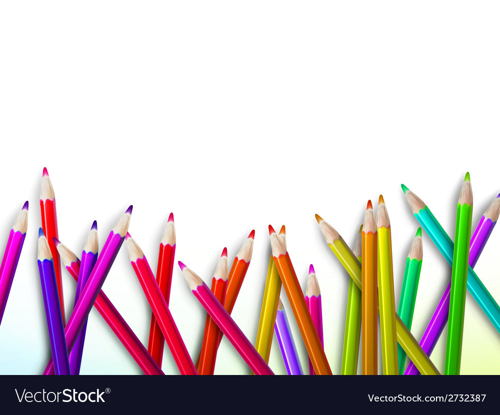 Colorful pencil crayons on white plus eps10 vector | Price: 1 Credit (USD $1)