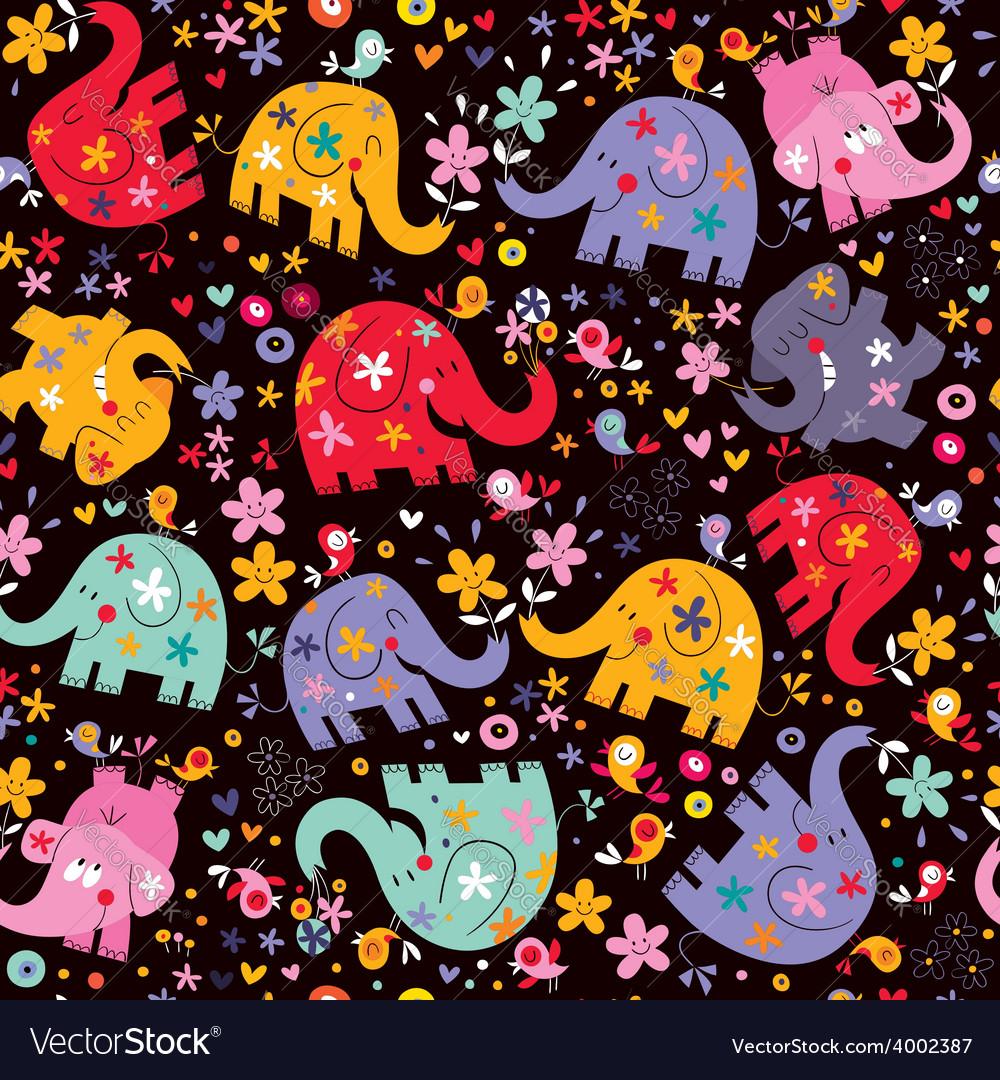 Elephants birds flowers pattern vector | Price: 1 Credit (USD $1)